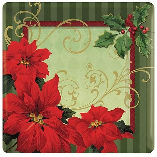 "Amscan BB749543 Vintage Poinsettia 7"" Plates -18 Pack"