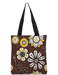 Snoogg Colorful Floral Seamless Pattern In Cartoon Style Seamless Pattern Designer Poly Canvas Tote Bag - B012FUG9MK