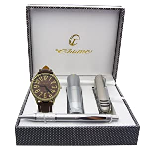 Montre Concept - Gift Box CCL - multifunction knife - torch - pen - men's Analog Watch - Brown Silicone Strap / Bracelet - Round Dial Black Background