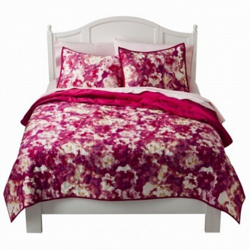 xhilaration-full-queen-bed-quilt-pretty-pink-floral-watercolor-flowers-by-xhilaration