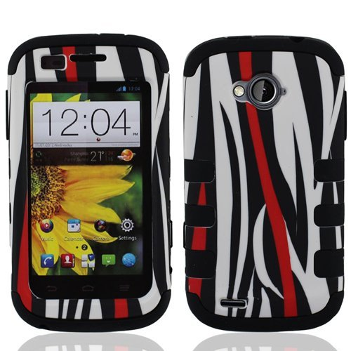 ZTE Emblem Case (Virgin Mobile), LF Hybrid Dual Layer Ribcase, Syulus Pen, Screen Protector & Wiper Bundle (Ribcase Zebra) (Zte Emblem Phone Virgin Mobile compare prices)
