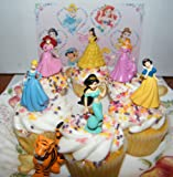 Disney Princess Set of 7 Cake Toppers Cupcake Toppers Party Decorations w/ Rajah
