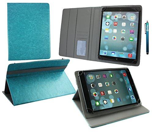 Emartbuy® Alcatel Pop 4 ( 10 ) Tablet PC 10.1 Pollice Universale ( 9 - 10 Pollice ) Turchese PU Pelle Angolo Multi Wallet Portafoglio Custodia Case Grigio Interno con Scomparti per Carte + Stilo