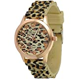 Gift-HK Sexy Wild Leopard Geneva Silicone Band Quartz Analog Wrist Watches Women Girls
