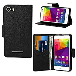 BLU Advance 5.0 , BLU Dash M Case , BNY-WIRELESS (TM) Luxury Design Magnetic Leather Flip Wallet Pouch Cover Case For LU Advance 5.0 , BLU Dash M , Card Holder With a Viewing Stand -BLACK
