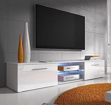 Muebles Bonitos –Mueble TV modelo Samoa en blanco con LED (150cm)