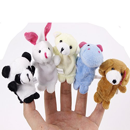 Baby Chlid Adult Finger Toys 1 Set Animals Plush Soft Toy Education Play Toys,New Family Member Puppets Toys,Great Gift for Boys and Girls (Free Pokemon Ca compare prices)