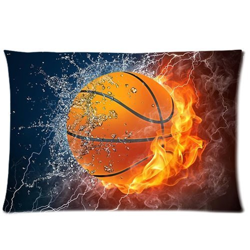 Best bed Decor Soft Zippered Pillowcase Pillow case Cover 16*24 Inch (Twin Sizes) Flaming Basketball Fire and Water Fashion Design (Basketball Quilt compare prices)