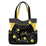Get Happy Women's Black And Yellow Smiling Face Quilted Tote Bag by The Bradford Exchange