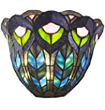 River of Goods 12727S Peacock Stained Glass LED Wall Sconce