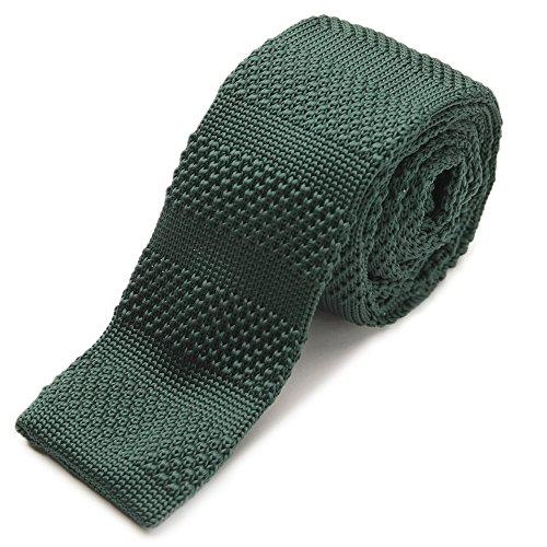 【ao-LABEL】3色から選べるニットタイ ボトルグリーン(深緑色) 織柄の無地ネクタイ