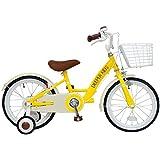 DEEPER(ディーパー) 16インチ子供用自転車 DE-001 バスケット付き イエロー クラシックデザインが人気の幼児用自転車