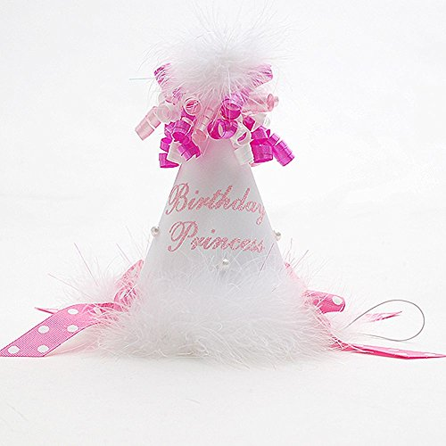 Boutique Baby Girls White Pink Dot Fur Bows Birthday Princess Hat (Accessories)