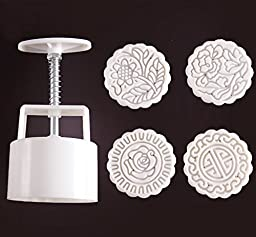 Zicome Moon Cake Mooncake Decoration Mold Mould Cookie Cutter Mold Hand Pressure 125g Flowers Round 4 Stamps