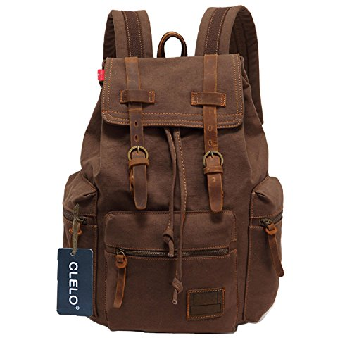 Clelo Vintage Canvas Leather Schoolbag Laptop Backpack Rucksack - Coffee back-333776