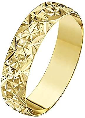 Theia 9ct Yellow Gold - Heavy Weight D Shape with Diamond Like Design Wedding Ring
