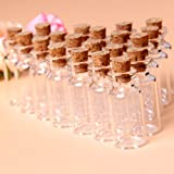 20Pcs 16x35mm Tiny Mini Empty Clear Cork Glass Bottles Vials 2ml