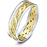 Theia 9 ct Yellow and White Gold Celtic Highly Polished Wedding Ring