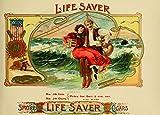 Vintage sigarette e sigari, tabacco LIFE SAVER sigari c1890 's 250 g, lucida per Poster, formato A3
