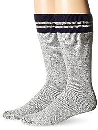 Dickies Men's 2 Pack Wool Blend Boot Crew Socks, Grey/Navy, 10-13 Sock/6-12 Shoe
