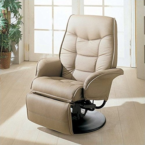 Coaster Swivel Recliner in Beige Leatherette (Rv Furniture compare prices)