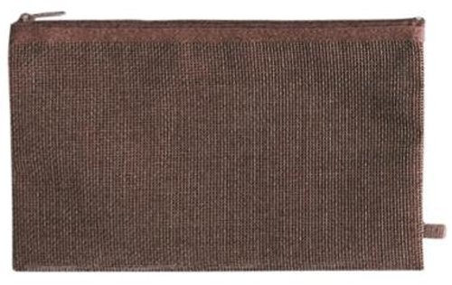 International Arrivals Hold It Wood Brown Faux Wicker Zippered Pencil Pouch (113-42d)