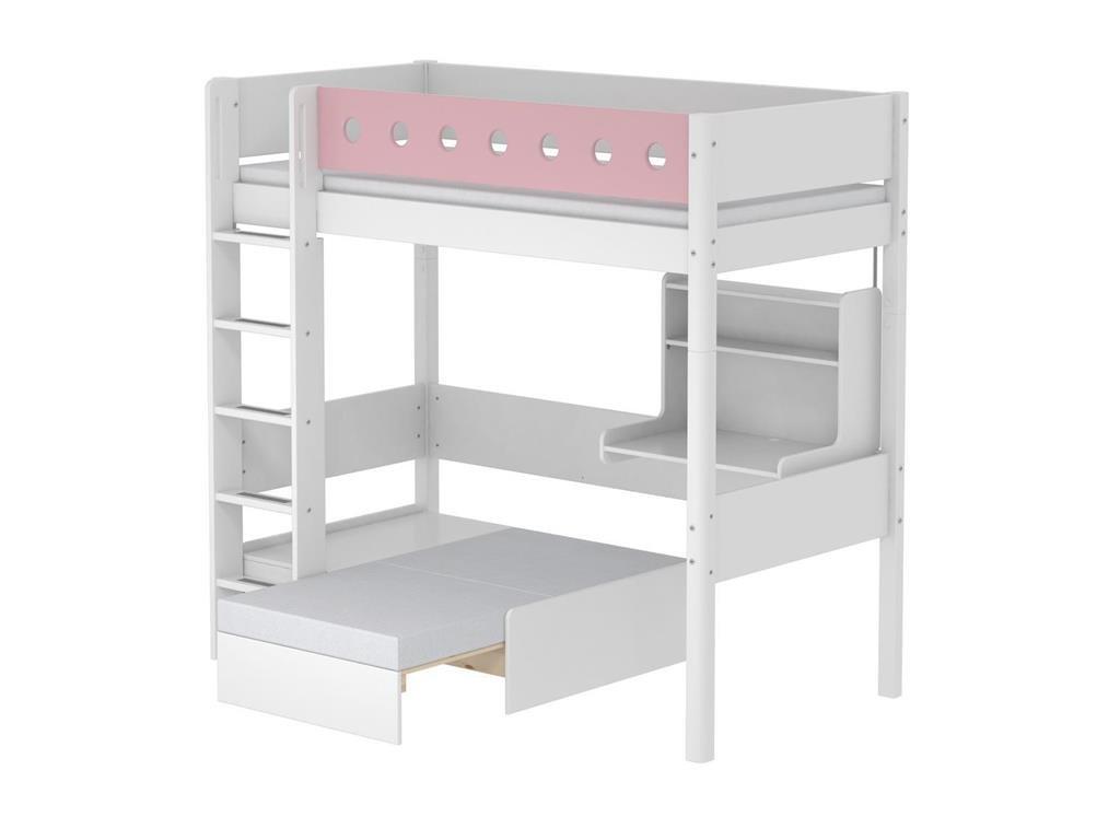 Hochbett Casa Weiß mit Gerader Leiter und Schreibtisch, 90x190cm, Flexa White günstig