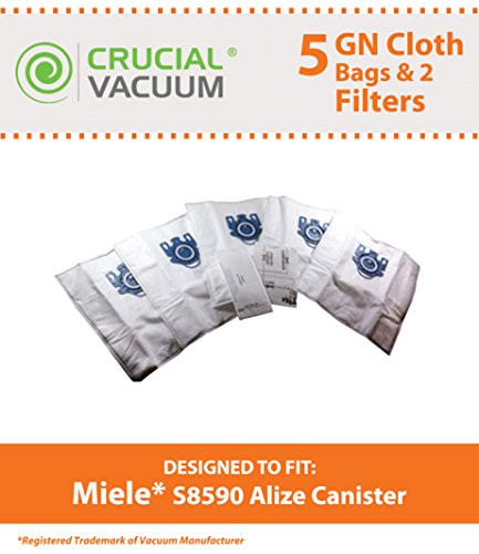 5 Miele GN HEPA Style Deluxe Allergen High Filtration Vacuum Bags + 2 Filters for Miele Vacuum Cleaners, Fit S8590 Alize Canister, Designed & Engineered by Crucial Vacuum (Crucial Vacuum Miele compare prices)