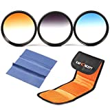 K&F Concept 3pcs 72mm Graduated Orange Blue Grey Lens Accessory Filter Kit Graduate Filters for Canon 7D 60D 70D 500D for Nikon D7000 D600 D300 D800 D7100 for Sony A77 NEX 5 DSLR Cameras + Lens Cleaning Cloth + Filter Bag Pouch