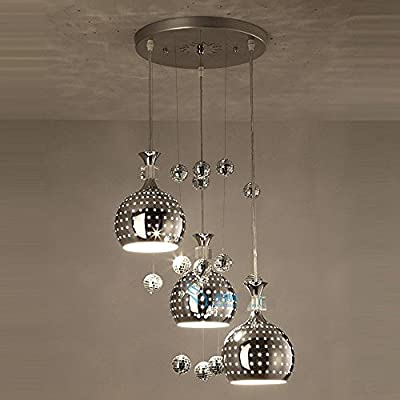 CHXDD Modern Dining Room Aluminum Ceiling Pendant Light Kitchen Room 3 Heads Pendant Lamp Balcony Balls Chandeliers Stair Case Pendant Lighting Fixtures