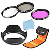 K&F Concept 58mm UV CPL FLD Lens Accessory Filter Kit UV Protector Circular Polarizing Filter for Canon 600D EOS M M2 700D 100D 1100D 1200D 650D DSLR Cameras + Bayonet Lens Hood (replacement Canon EW-60C) + Lens Cleaning Cloth + 3 Slot Filter Pouch