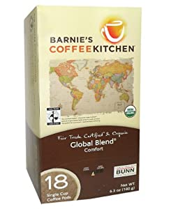 Barnie's 58009 Global Blend Fair Trade Coffee Pods, 18-count