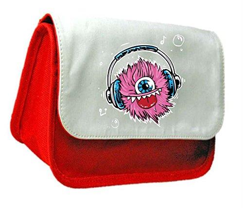 Design di Halloween One Eyed Monster Cuffie Frizione Borsa o Astuccio, colore: rosso