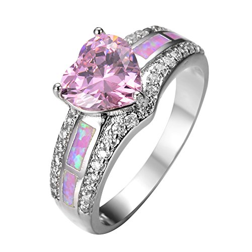 JunXin 10KT White Gold Pink Heart Diamond Ring White CZ Pink Opal Stone Sz6/7/8/9(6) (Heart Gold Ring compare prices)