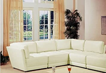 Sectional Sofa Button Tufted Design White Bonded Leather