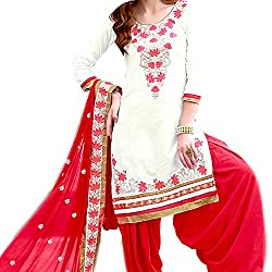 Reet Glamour Women 's Cotton Unstitched White And Red Embroidered Punjabi Suit