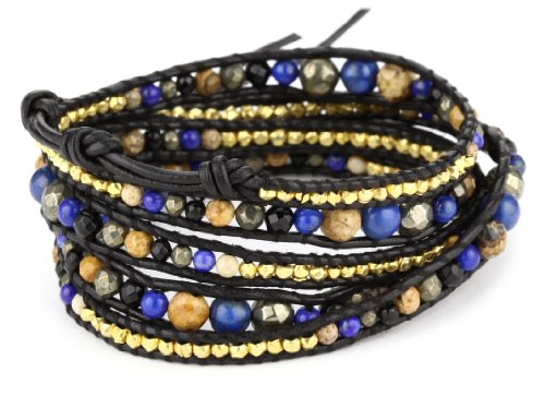 Chan Luu Blue Semi Precious Stone and Plated Beads on Leather Bracelet