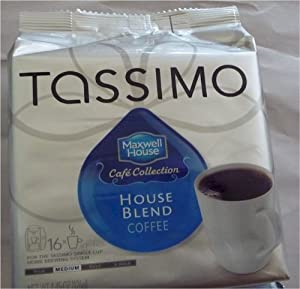 Maxwell House Cafe Collection House Blend Coffee(Medium), T-discs for Tassimo Coffeemakers, 16-Serving Packages