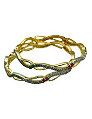 Sheetal Jewellery Silver & Golden Brass & Alloy Bangle Set For Women - B00TIH405W