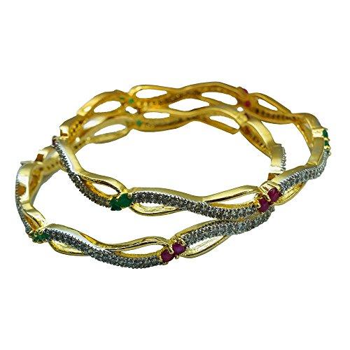 Sheetal Jewellery Silver & Golden Brass & Alloy Bangle Set For Women - B00TIH4ZK2