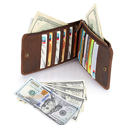04. Kattee Real Leather Business Credit ID Cards Case Long Wallet