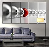 TANDA Large Wall Art Red Ball in Gray Balls Large Wall Art Black White Different Art Grey Balls Wall Art Print 60 Inch Total