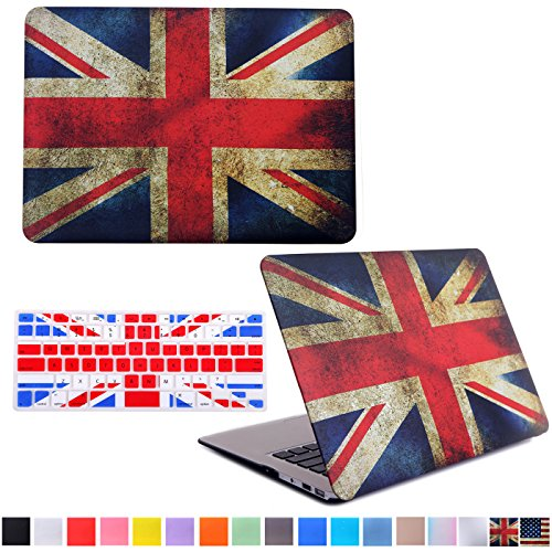 """HDE Matte Hard Shell Clip Snap-on Case + Matching Keyboard Skin for MacBook Pro 13"""" (Non-Retina) - Fits Model A1278 (UK Flag)"""