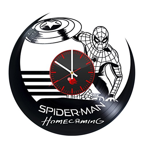 [Spider-Man Vinyl Record Wall Clock - Get unique kids, bedroom wall art décor - Gift ideas for brother, boy, parents - Unique comics art design - Leave us a feedback and win your custom] (The Amazing Spider Man 2 2016 Costume)
