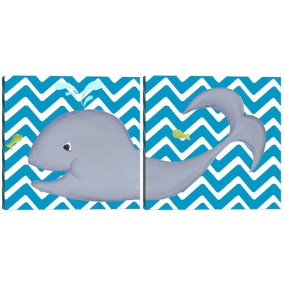 Doodlefish DB1482-tc-di Wallace Whale Diptych Artwork