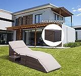 GHP Garden Rattan Recliner Lounger Sun Bed Reclining Chaise Lounge