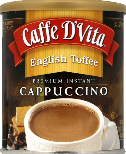 Caffe D'Vita English Toffee Instant Cappuccino Mix 99% Caffeine Free 1 Lb(Pack Of 6)