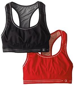 Champion Women's Reversible Seamless Racer Back Bra 2 Pack, Black/Charcoal/Papaya/Light Papaya, Large