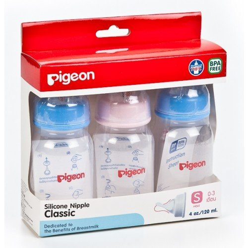 Feeding Bottle Pigeon Model Rpp 4Oz. + Classic Nipple Size S Pack 3 front-497554