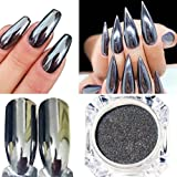 Oksale® Women DIY Mirror Powder Effect Chrome Nails Pigment Gel Polish (Silver B)